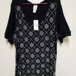Fashion Bug Black Studed Top Size 30
